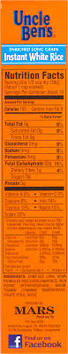 minute white rice nutrition label