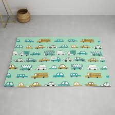 Cars Trucks Buses City Highway Transportation Illustration Cute Kids Room Gifts Rug By Andrealaurendesign Society6