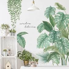 Green Leaves Wall Stickers For Bedroom Living Room Dining Room Kitchen Kids Room Diy Vinyl Wall Decals Door Murals Sale Banggood Com
