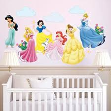 Amazon Com Decalmile Princess Wall Stickers Murals Removable Vinyl Girls Room Wall Decals Nursery Baby Bedroom Wall Decor 6 Different Theme Princess Kitchen Dining