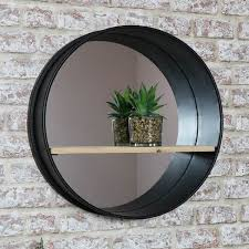 industrial metal framed wall mirror