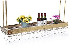 wall mounted metal hanging wine rack