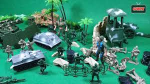 Bộ đồ chơi lính quân đội và xe tăng - YouTube