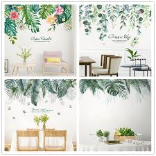 Shijuekongjian Tree Leaves Wall Stickers Diy Green Plant Leaf Wall Decals For Living Room Bedroom Kitchen Home Decoration Aliexpress