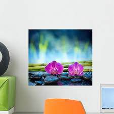 Orchids Stone And Bamboo Wall Decal Wallmonkeys Com