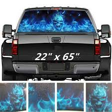 Funny Scary Car Rear Window Sticker Horror Skull Flaming Decal For Truck Suv Bar101 Co Nz
