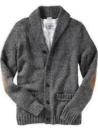 grey shawl elbow patch knit cardigan