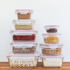 glass food container set 9 containers