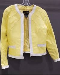 metro style yellow leather jacket sz m