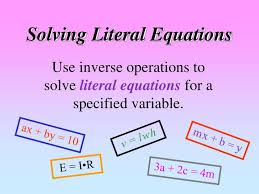 solving literal equations powerpoint