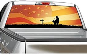 Amazon Com Fallen Soldier American Flag Sunset Rear Window Graphic Decal Sticker For Truck Suv 4 Sizes 18 X 58 Automotive