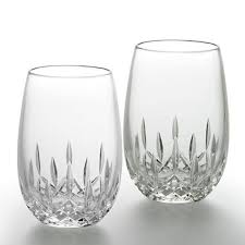 crystal stemless wine glasses the