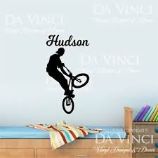 Bmx Bike Tricks Bikers Wall Personalized Custom Name Vinyl Wall Decal Sticker F Ebay