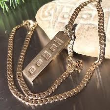 9ct solid gold ingot vintage pendant
