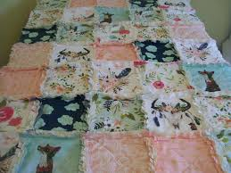 crib rag quilt cow skull fox mint navy