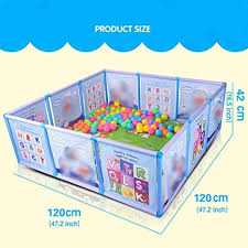 Cartoon Children Kids Plastic Play Fence Baby Safety Fence Pool Baby Game Toddler Crawling Crawl Safety Pool Color Blue Amazon Co Uk Sports Outdoors