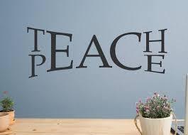 Teach Peace Decal Peace Wall Decal Classroom Wall Decal Etsy