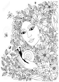Woman With Snail In The Colors Design For Coloring Book Adults