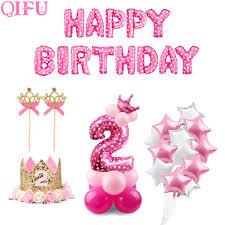 Qifu 10 Piezas 12 Pulgadas 2 Anos De Cumpleanos Rosa Azul