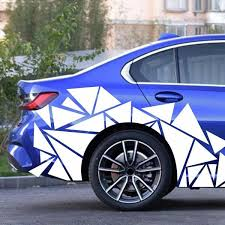 200x60cm Glossy Geometric Triangle Graphic Decal White Sticker For Car Body Side Wish