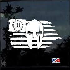 Three Percenter Spartan Weathered American Flag Military Window Decal Stickers Custom Sticker Shop