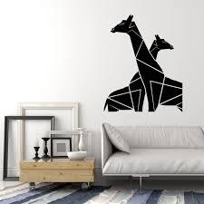Vinyl Wall Decal Geometric Couple Giraffes African Wild Animals Sticke Wallstickers4you