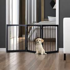 Folding Pet Gate Dog Fence Child Safety Indoor Durable Free Standing Pine Wood 5055974839182 Ebay