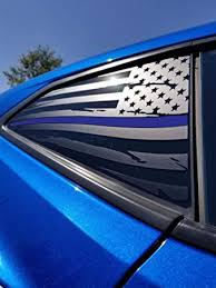 Amazon Com Elevated Auto Styling Chevy Camaro Distressed Thin Blue Line American Flag Rear Quarter Window Decal Pair Matte Black 2016 2019 Kitchen Dining
