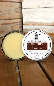 leather scented solid lotion bar by