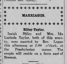 Isaiah Bliley & Ida Taylor marriage - Newspapers.com