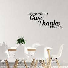 In Everything Give Thanks Vinyl Wall Decal Quotes Home Sticker Etsy
