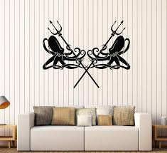 Vinyl Wall Decal Octopus Kraken Trident Tentacles Sea Marine Stickers Wallstickers4you