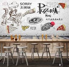 White Brick Wall Black And White Drawing Pizza Pizzeria Restaurant Art Idecoroom
