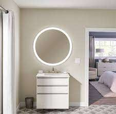 inch diameter circle lighted mirror