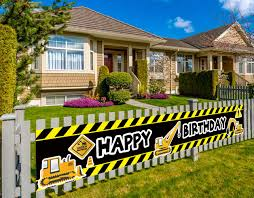 Construction Vehicle Happy Birthday Banner Baby Boy Toddler Kids Construction Theme Birthday Party Decorations Supplies Backdrop Background Photo Booth Props Outdoor Indoor 9 8 X 1 5 Feet Amazon In Toys Games