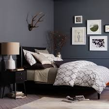 mid century bed black