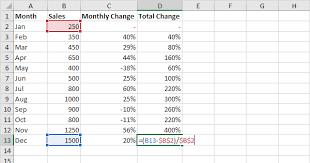 percent change formula in excel easy