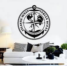 Vinyl Wall Decal Indian Atlantic Ocean Travel Adventure Compass Sticke Wallstickers4you