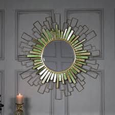 large sunburst bevelled wall mirror