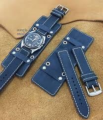 army style matt black leather cuff