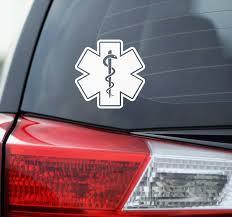 Amazon Com Blue Giraffe Inc Star Of Life Car Decal 4 Medical Bumper Sticker For Your Car Automotive