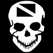 Innovative 8in Skull With Dive Flag Die Cut Window Decal