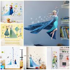Cartoon Diy Elsa Anna Frozen Princess Wall Stickers For Girls Room Home Decoration Anime Mural Art Movie Poster Kids Wall Decal Wall Stickers Aliexpress