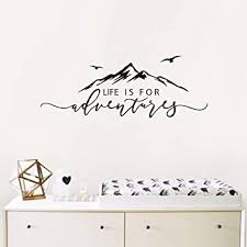 Amazon Com Life Is For Adventures Wall Decal Quote Decal Mountain Design Wall Decals Flying Birds Wall Sticker Travel Decor Adventure Decor Home Decal Wall Stickers Y15 57x23cm Black Home Kitchen
