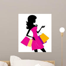 Woman Shopping Silhouette White Wall Decal Wallmonkeys Com