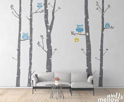 Birch Tree And Owl Forest Wall Decal Wall Stickers For Etsy