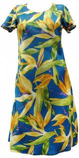 cap sleeve hawaiian dress in blue