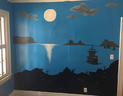 Just Finished This Mural In My Peter Pan Themed Nursery Captain Hook S Pirate Ship In The Moonlight Pirate Room Playroom Decor Mural