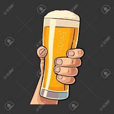 Male Hand Holding A Beer Glass Vintage Vector Flat Illustration