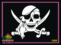 Skull And Crossed Swords With Eye Patch And Bandanna Vinyl Decal